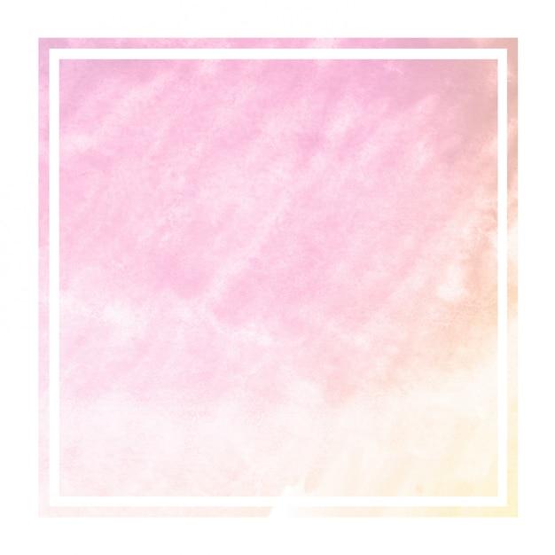 ピンクとオレンジ色の手描き水彩の長方形フレーム背景テクスチャと汚れ Premium写真