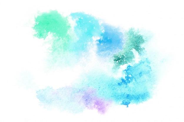あなたのデザインのための冷たい色調で手描き水彩の形。創造的な塗られた背景、手作りの装飾 Premium写真