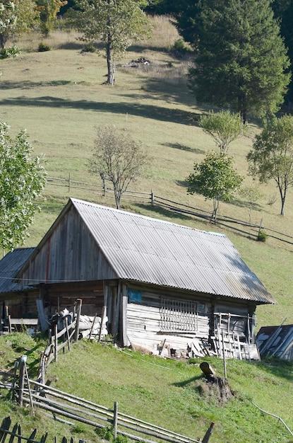 スレート屋根と緑の野原で木の塀を持つ古いウクライナの小屋 Premium写真