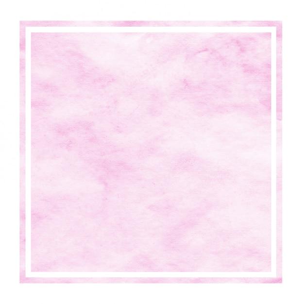 ピンクの手描きの水彩画長方形フレームの背景テクスチャと汚れ Premium写真