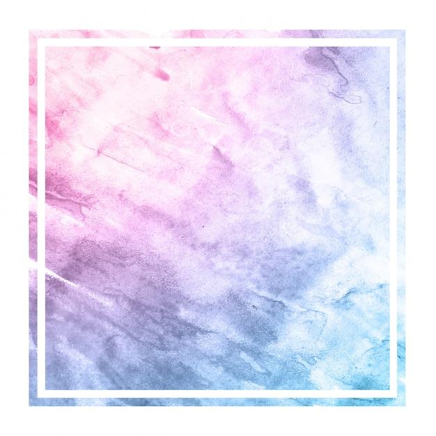 スペースカラー手描きの水彩画の長方形フレームの背景テクスチャと汚れ Premium写真