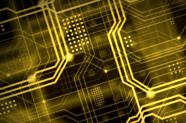 多数の光誘導線からなる抽象的な技術的背景 Premium写真