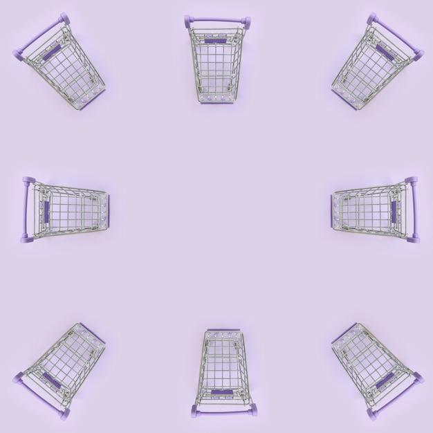 バイオレットの多くの小さなショッピングカートのパターン Premium写真