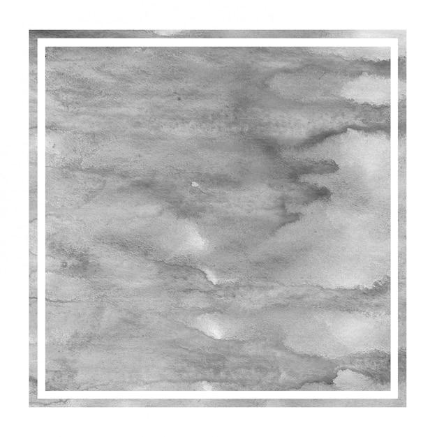 モノクロの手描きの水彩画の長方形フレームの背景テクスチャ、汚れ Premium写真