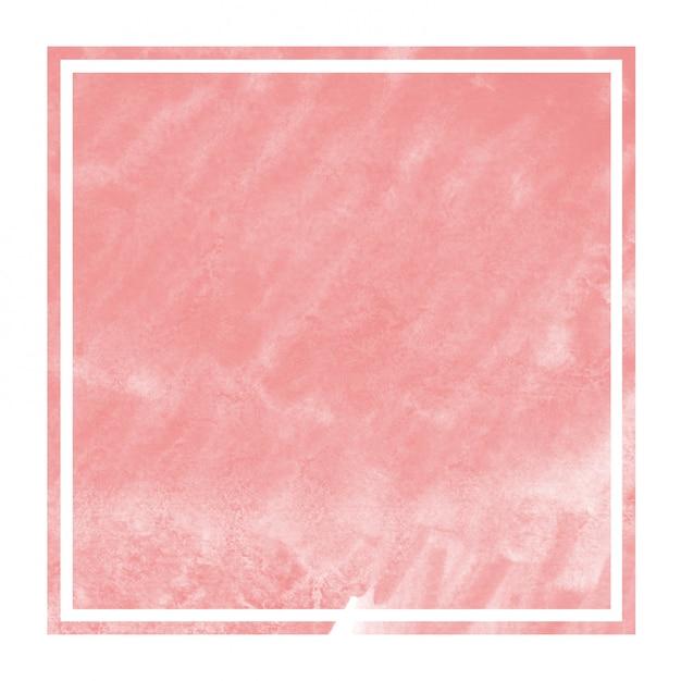 赤い手描き水彩の長方形フレームの背景テクスチャの汚れ Premium写真