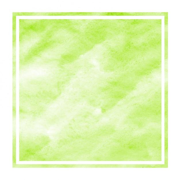 ライトグリーンの手描きの水彩画の長方形フレーム背景テクスチャと汚れ Premium写真