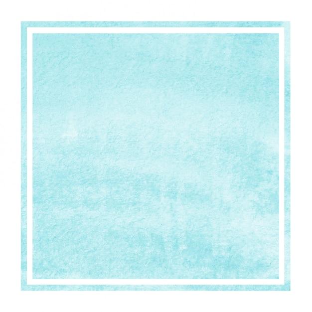 ライトブルーの手描き水彩の長方形フレームの背景テクスチャと汚れ Premium写真