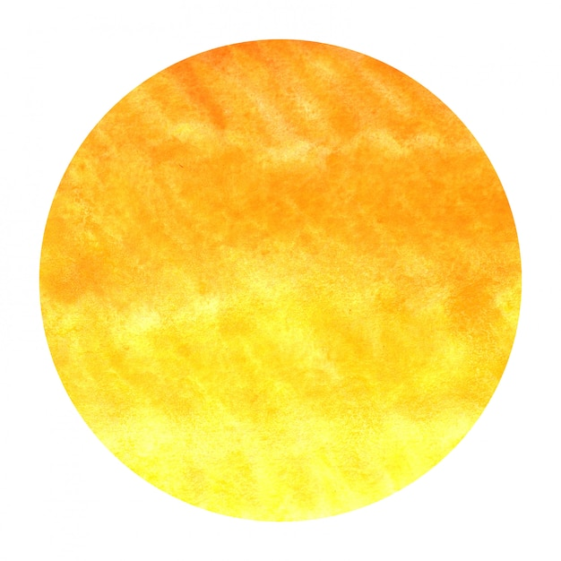 暖かい黄色手描き水彩円形フレーム背景テクスチャの汚れ Premium写真