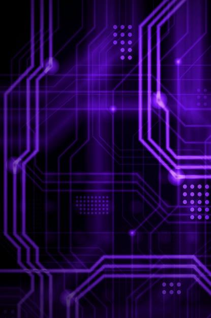 物理的なマザーボードのようなものを形成する多数の明るい誘導線と点から成る抽象的な技術的背景。紫色 Premium写真