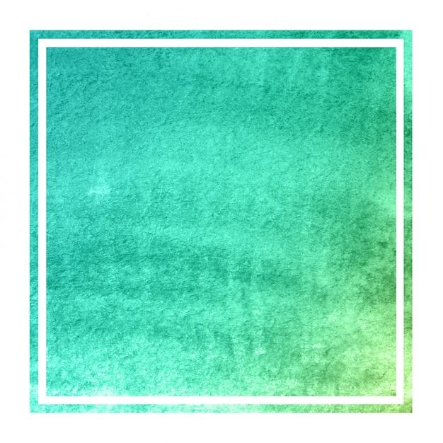 ターコイズブルーの手描き水彩長方形フレーム Premium写真