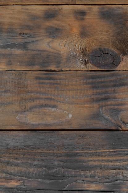 暗い茶色の木製の水平板の背景表面 Premium写真