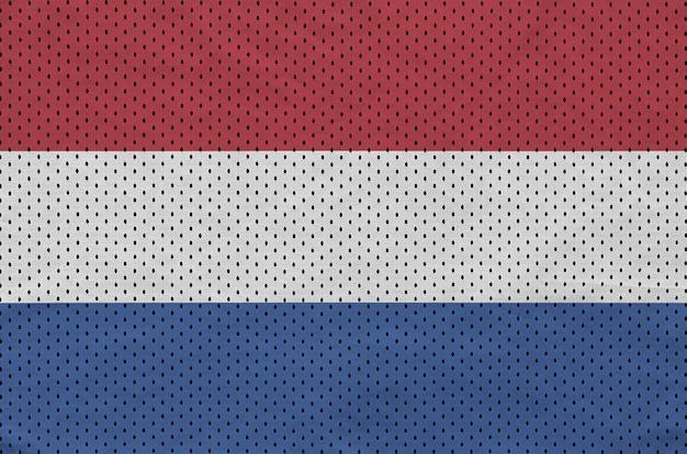 ポリエステルナイロンスポーツウェアメッシュ生地にオランダ国旗を印刷 Premium写真