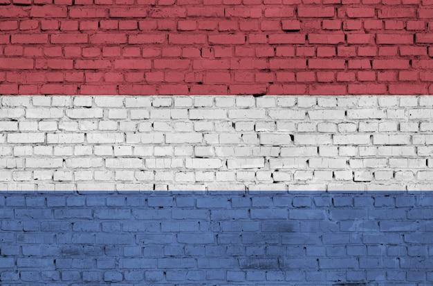 オランダの旗は古いレンガの壁に描かれています Premium写真