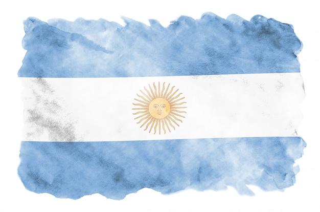 アルゼンチンの国旗は、白で隔離される液体水彩風で描かれています Premium写真