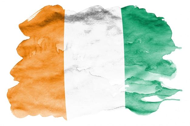 コートジボワールの旗は、白で隔離される液体水彩風で描かれています Premium写真