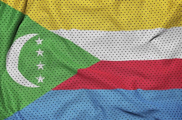 Флаг коморских островов на полиэфирной нейлоновой сетке Premium Фотографии