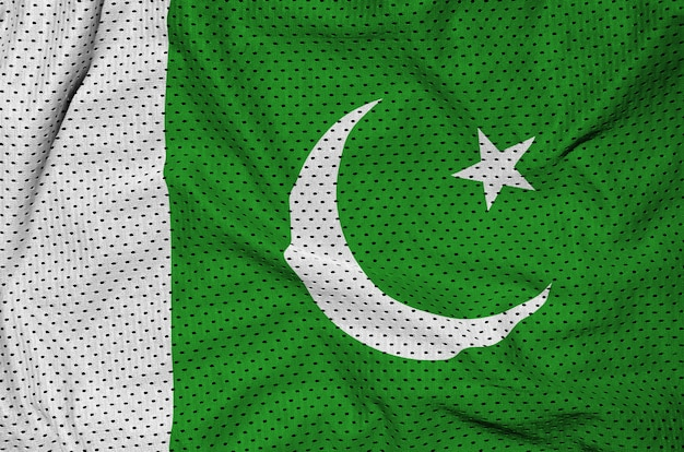 Флаг пакистана напечатан на полиэфирной нейлоновой сетке Premium Фотографии