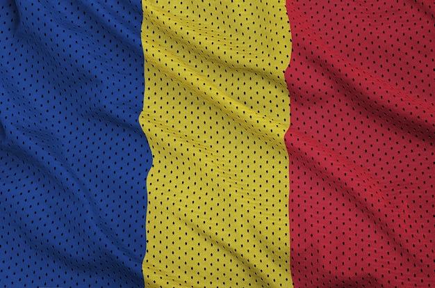 Флаг румынии напечатан на полиэфирной нейлоновой сетке Premium Фотографии