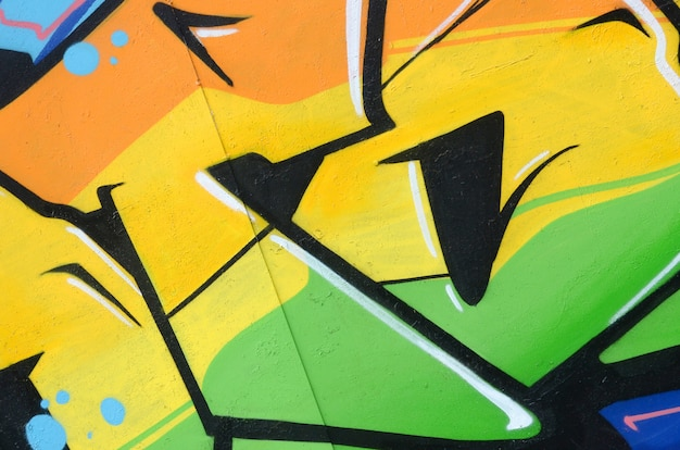 Фрагмент цветной уличной графики граффити Premium Фотографии