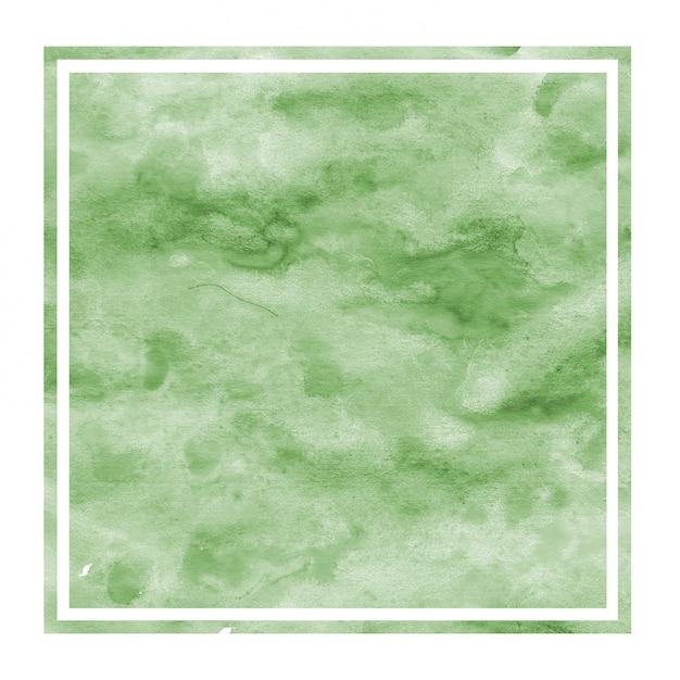濃い緑色の手描き水彩の長方形フレーム Premium写真