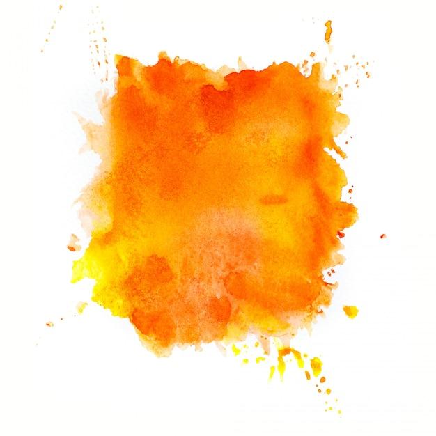 オレンジ色の水彩画の背景。 Premium写真