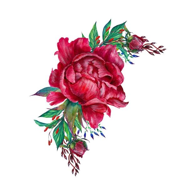 Романтическая цветочная композиция, цветы пиона, изолированные Premium Фотографии