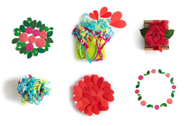 要素花のお祝いセット包装ギフトブーケ紙吹雪ホワイト分離の背景 Premium写真