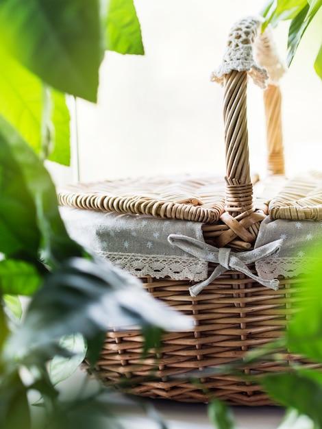 緑の植物と窓枠にヴィンテージの枝編み細工品バスケット Premium写真