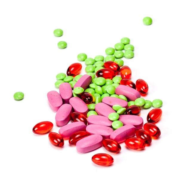 異なる錠剤丸薬カプセルヒープミックス療法薬医師インフルエンザ抗生物質薬局医療 Premium写真