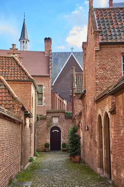 ベルギーのアントワープ市のダウンタウンにある古い歴史的家屋のベギン会修道院 Premium写真