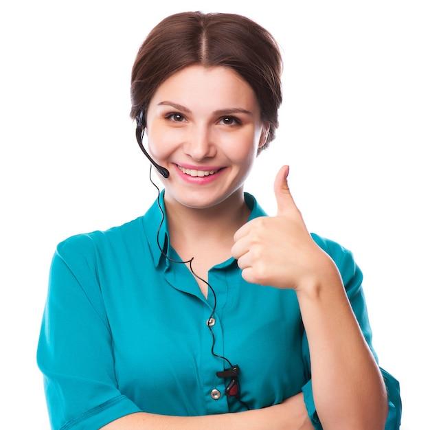 Портрет счастливый улыбающийся веселый молодой поддержки телефонного оператора Premium Фотографии