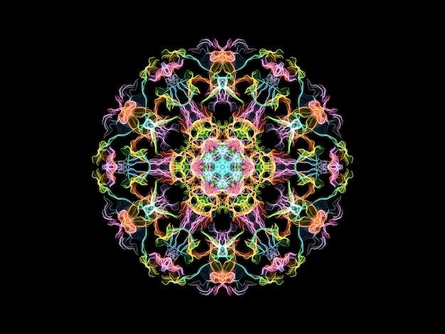 色とりどりの炎曼荼羅花、黒の背景に装飾用の丸い模様。 Premium写真