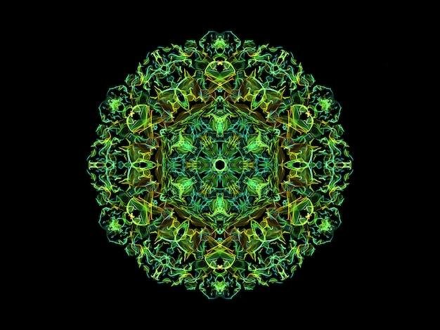 緑と黄色の抽象的な炎マンダラ花、観賞用の花柄ラウンドパターン Premium写真