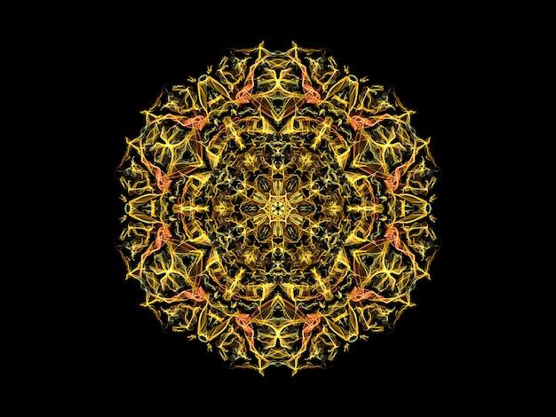 黄色とオレンジ色の抽象的な炎マンダラ花、黒の背景に装飾用の花柄ラウンド Premium写真