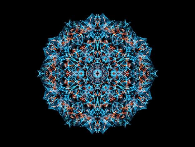 青とオレンジ色の抽象的な炎マンダラ花、観賞用の花柄ラウンドパターン Premium写真
