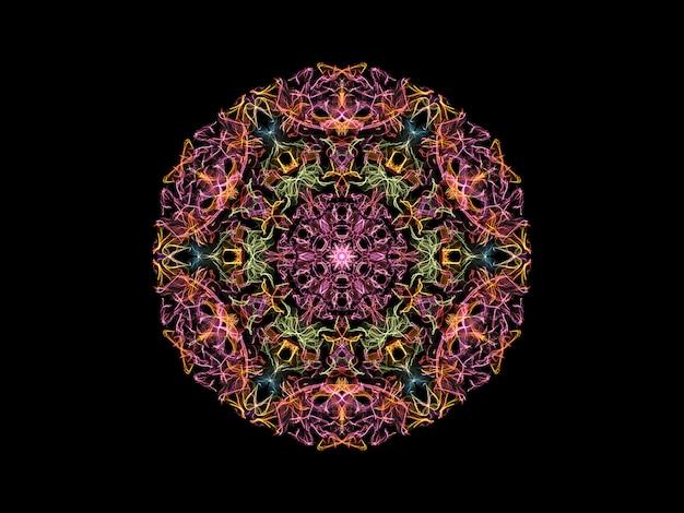 ピンク、黄色、緑および青の抽象的な炎マンダラ花、観賞用の花のラウンドパターン Premium写真