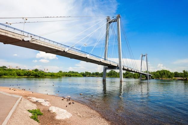Виноградовский мост в красноярске Premium Фотографии