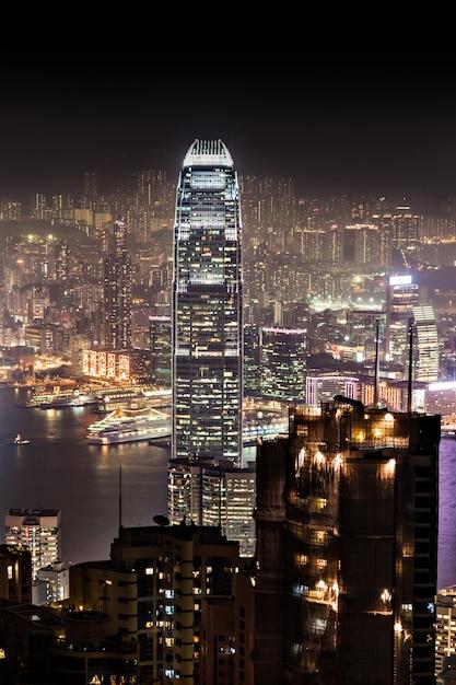 夜の香港 Premium写真