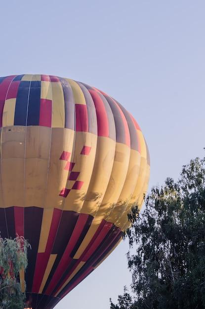 熱気球は日の出で飛んでいます Premium写真
