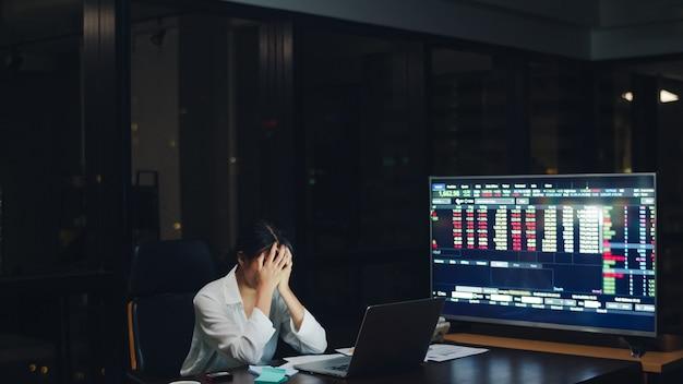 夜遅くまで働いているミレニアル世代の若い中国人実業家が、小さな近代的なオフィスの会議室にあるラップトップのプロジェクト研究の問題を強調しています。アジアの人々の職業バーンアウト症候群の概念。 無料写真