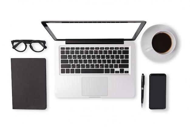 事務机のテーブルの上の黒い調子色の男性装置アクセサリーの平干し Premium写真