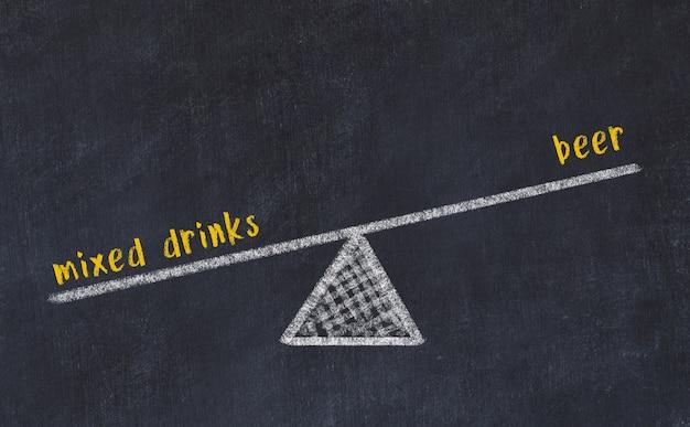 スケールのチョークボードスケッチ。ビールと混合飲料のバランスの概念 Premium写真