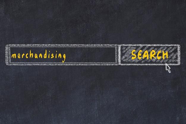 Рисунок на доске в окне поискового браузера и надписи мерчендайзинга Premium Фотографии