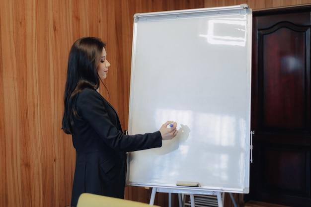 近代的なオフィスや観客でフリップチャートを扱うビジネススタイルの服の感情的な魅力的な少女 Premium写真