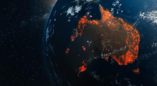 オーストラリアの火災の生態学的災害 Premium写真