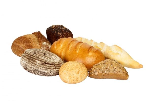 異なる焼きたてのパン、分離 Premium写真