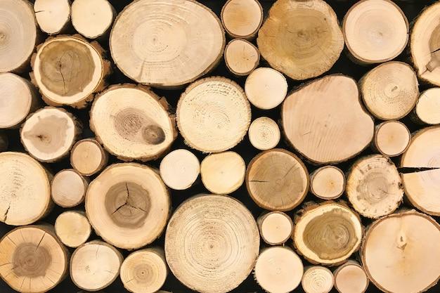 丸いチーク材の木の切り株の背景。木の背景テクスチャのセクションをカット Premium写真