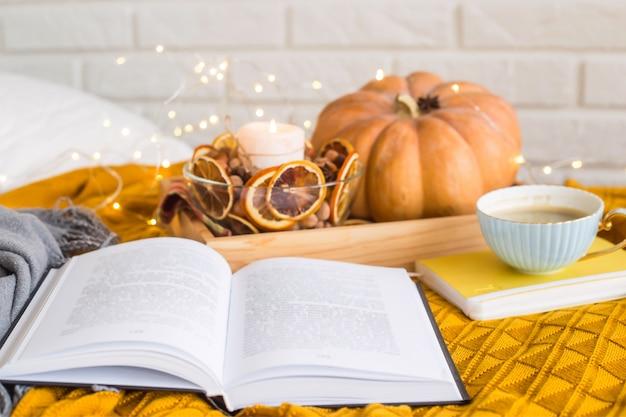 秋の休日の家の居心地の良い休み Premium写真