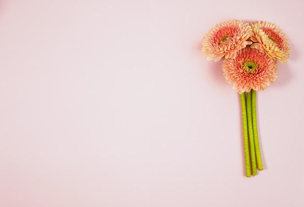 青いパステル調のテーブルトップビューで美しい春のピンクの花。花のボーダー。平干しスタイル。 Premium写真