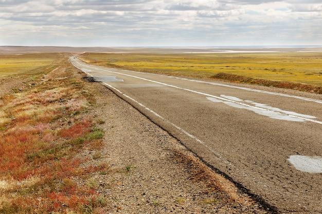 Асфальтовая дорога саиншанд замиин-ууд в монголии Premium Фотографии
